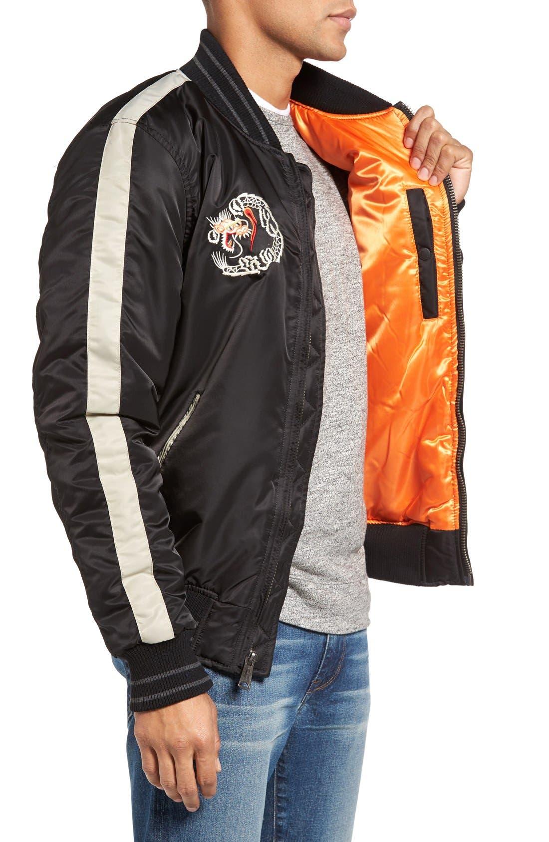 Nylon Souvenir Flight Jacket,                             Alternate thumbnail 3, color,                             Black