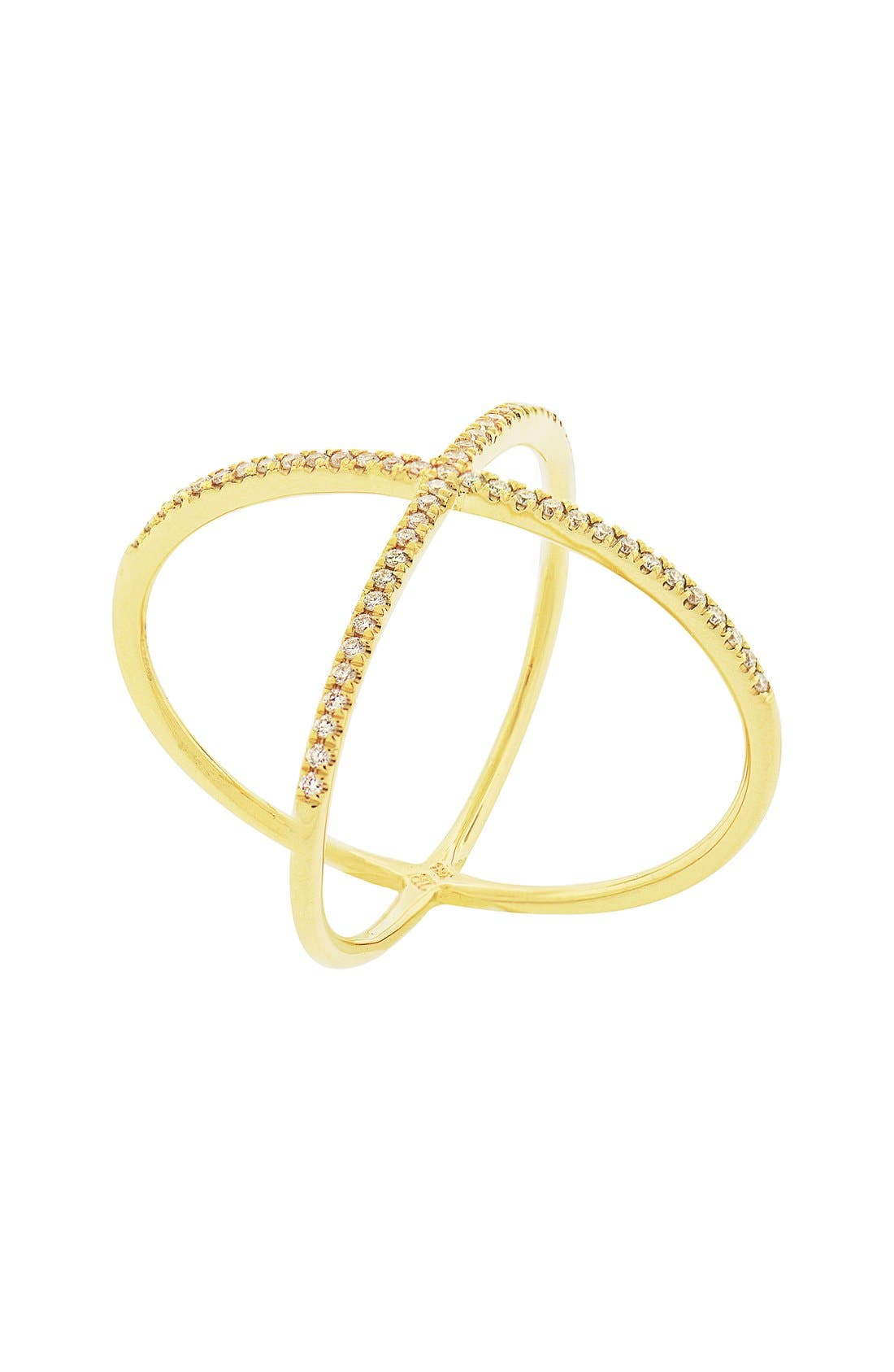 Crossover Diamond Ring,                         Main,                         color, Yellow Gold