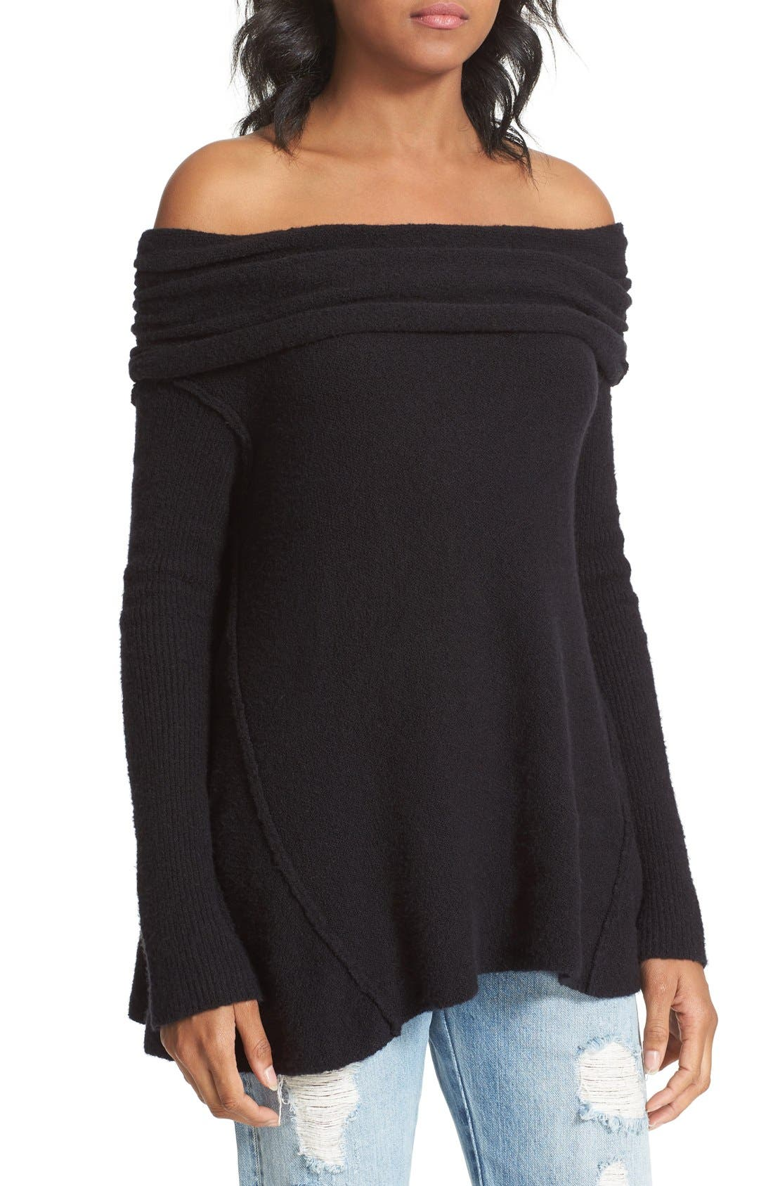 'Strawberry Fields' Off the Shoulder Sweater,                             Alternate thumbnail 4, color,                             Black