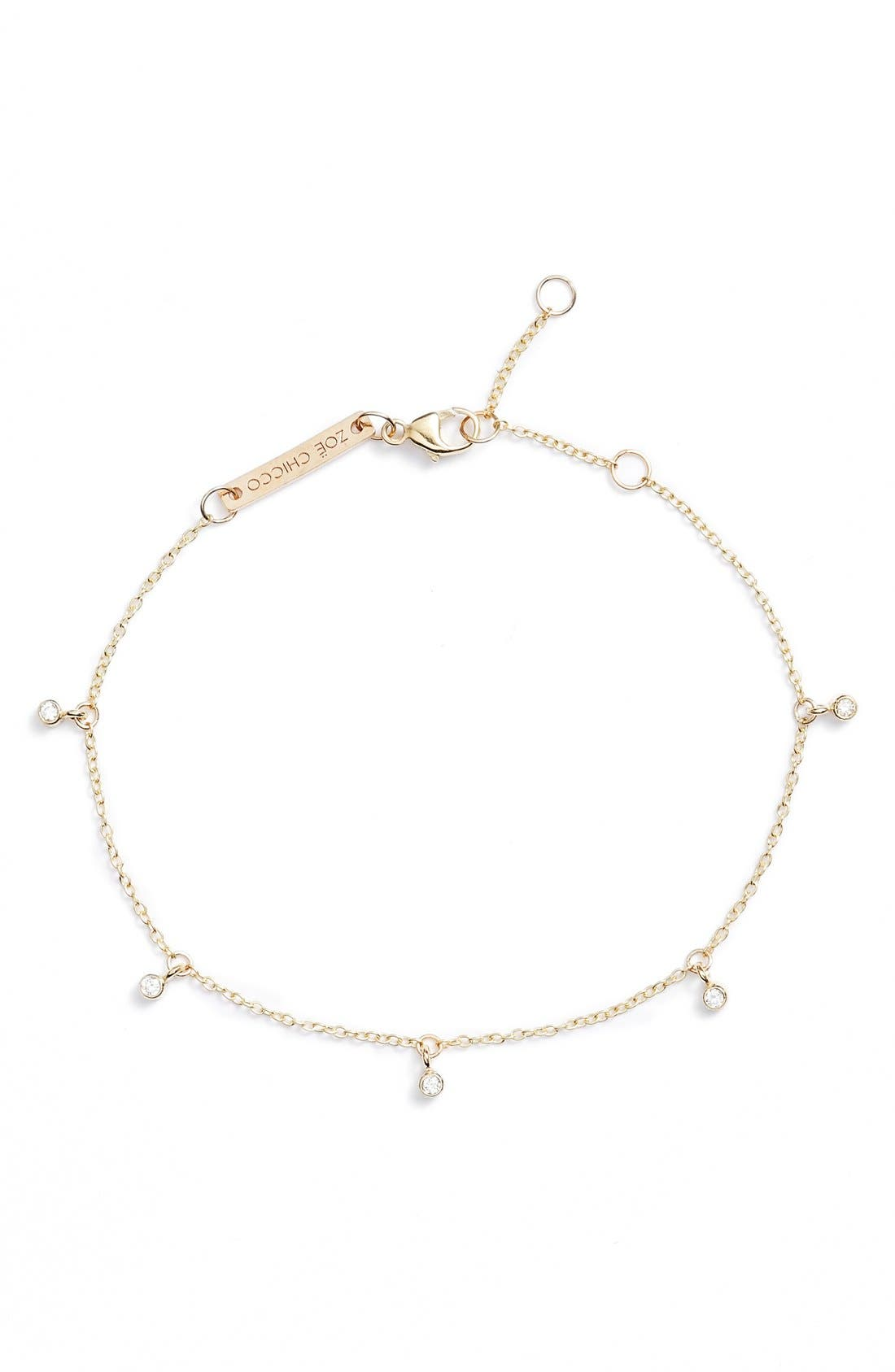 Dangling Diamond Bracelet,                         Main,                         color, Yellow Gold