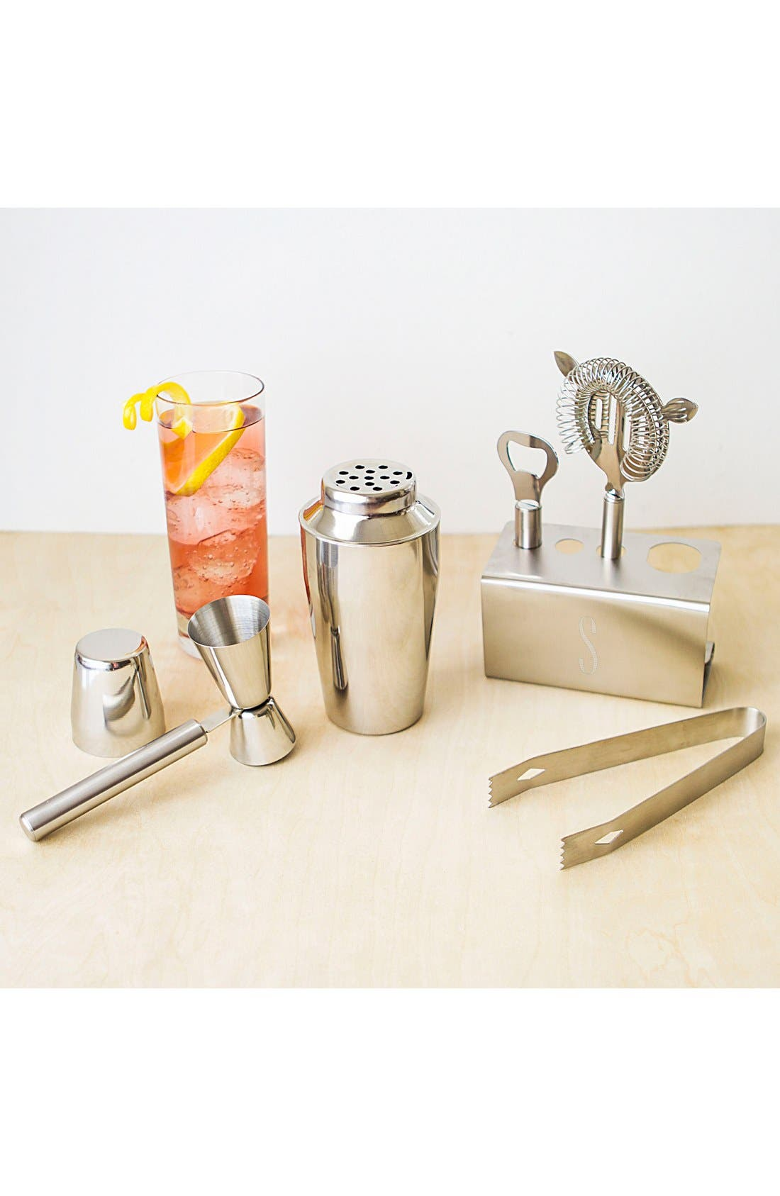 Alternate Image 2  - Cathy's Concepts Monogram Stainless Steel Mixology Set