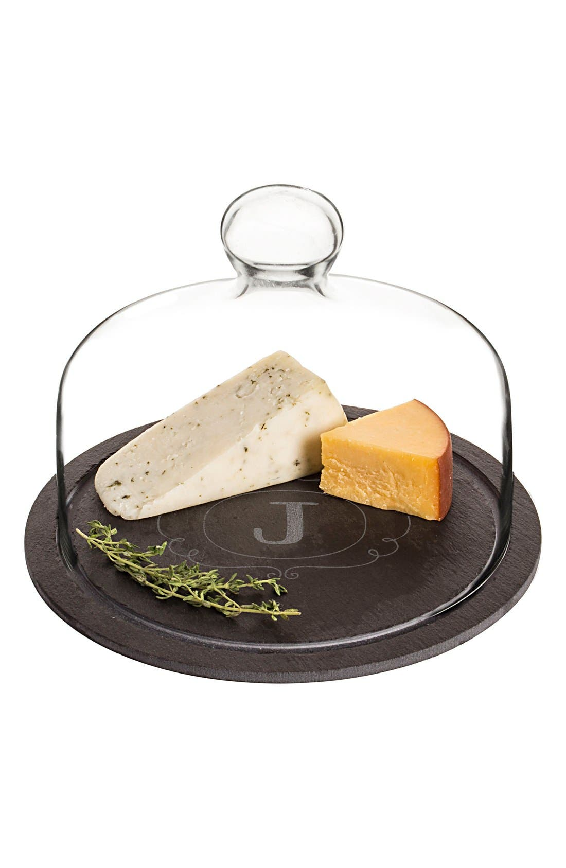 Alternate Image 1 Selected - Cathy's Concepts Monogram Slate Tray & Glass Dome