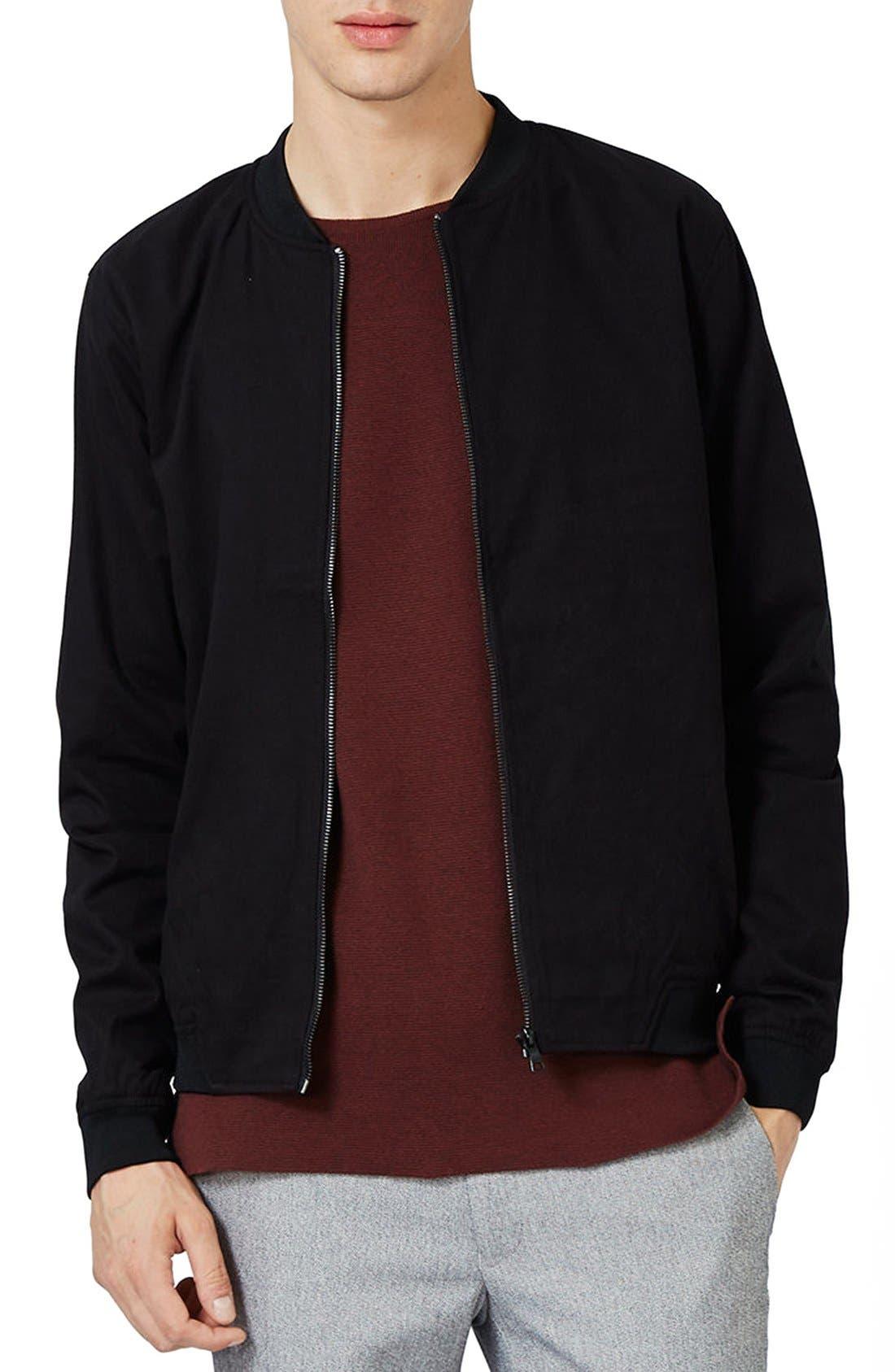 Cotton Bomber Jacket,                         Main,                         color, Black