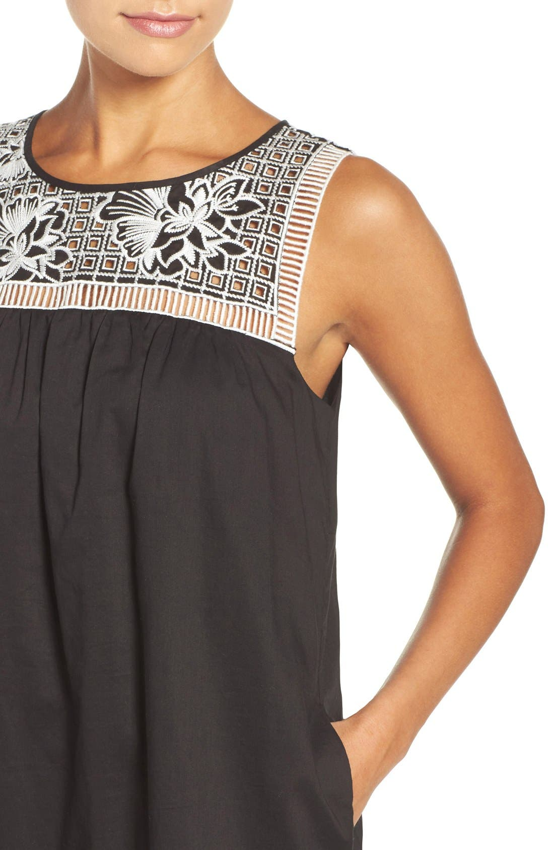 Alternate Image 4  - Tory Burch Embroidered Yoke Cover-Up Dress