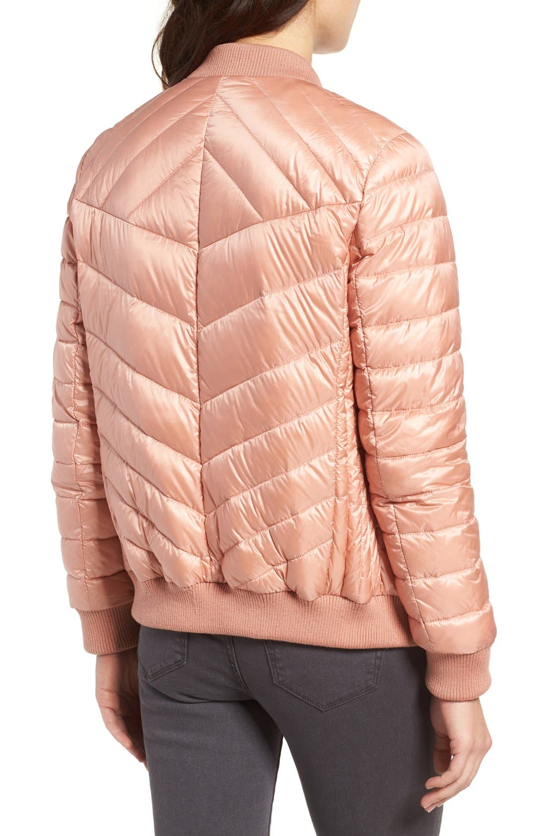 Water Resistant Insulated Bomber Jacket,                             Alternate thumbnail 4, color,                             Peach Blush