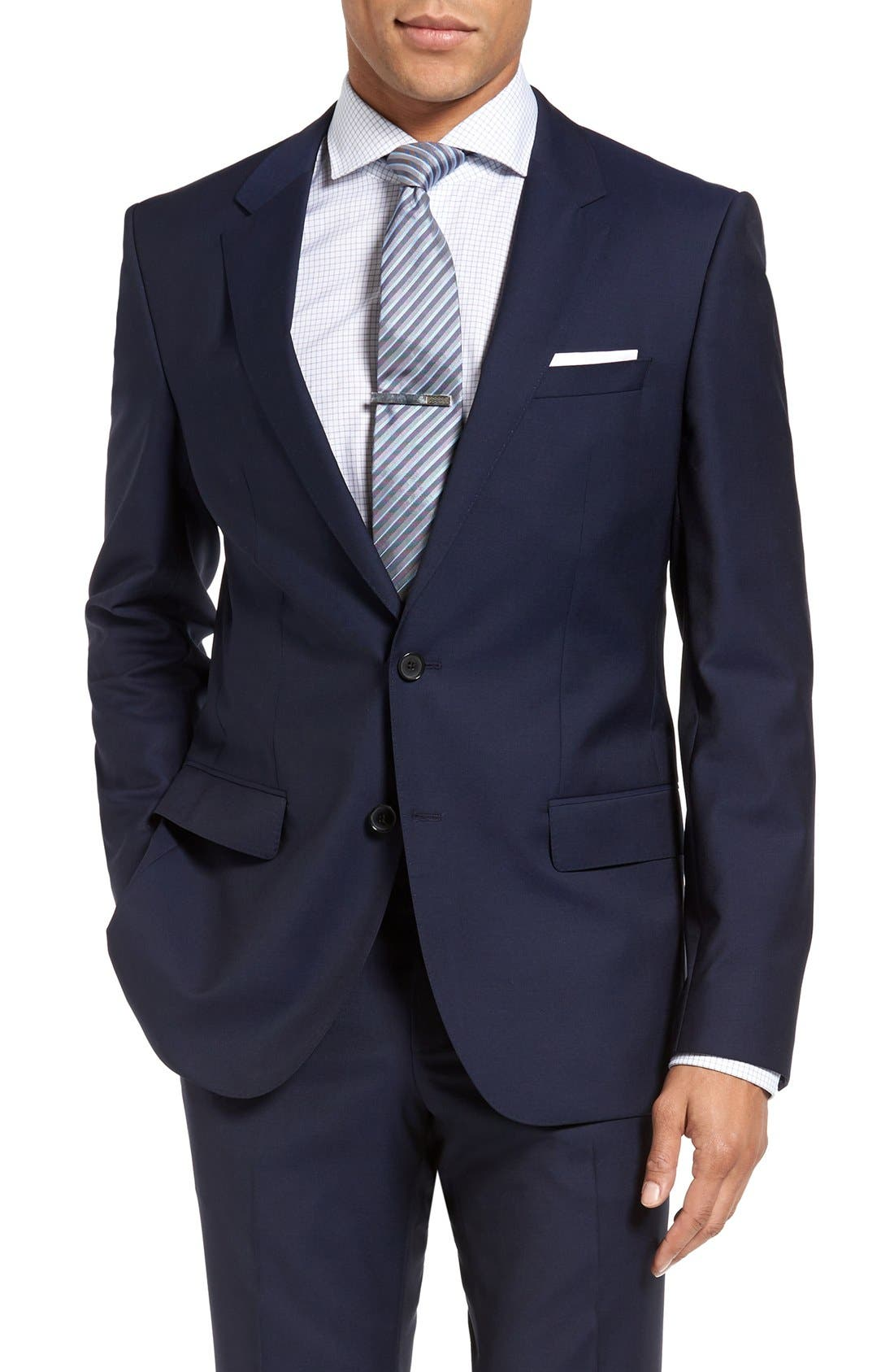 Huge/Genius Trim Fit Navy Wool Suit,                             Alternate thumbnail 5, color,                             Navy