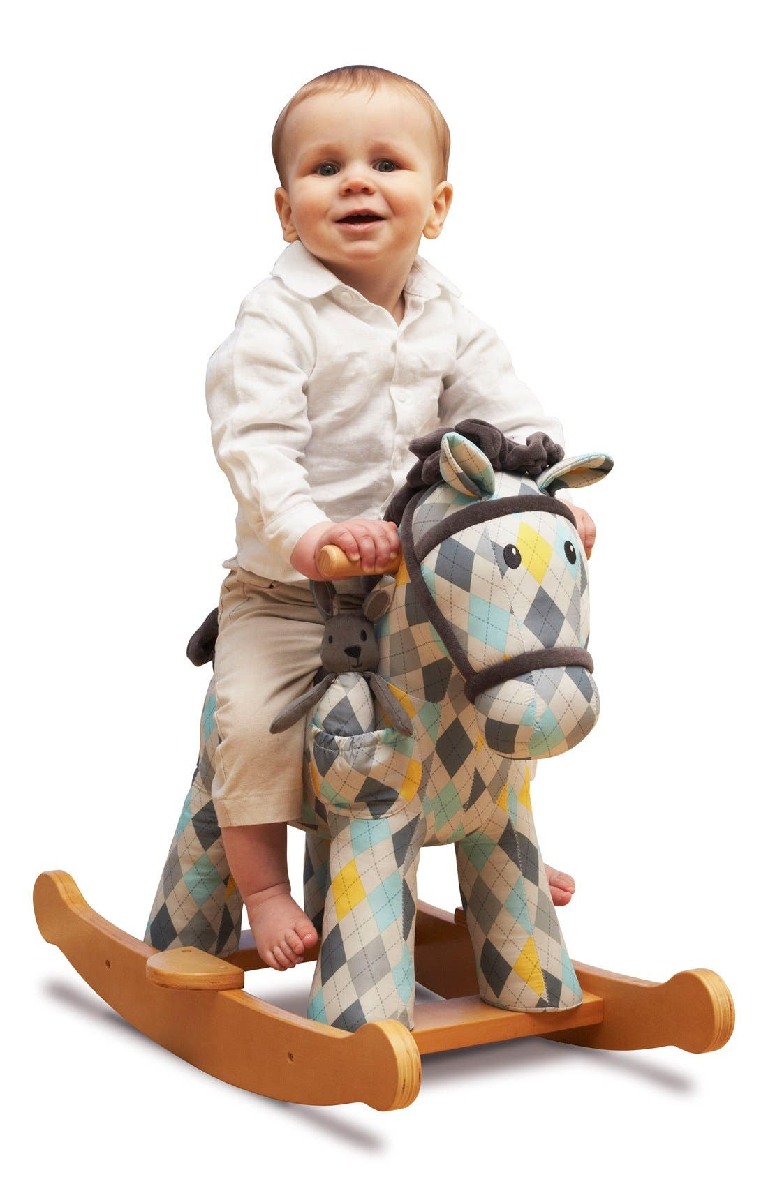 Lewis & Fitz Rocking Horse & Stuffed Animal,                             Alternate thumbnail 2, color,                             Blue Plaid