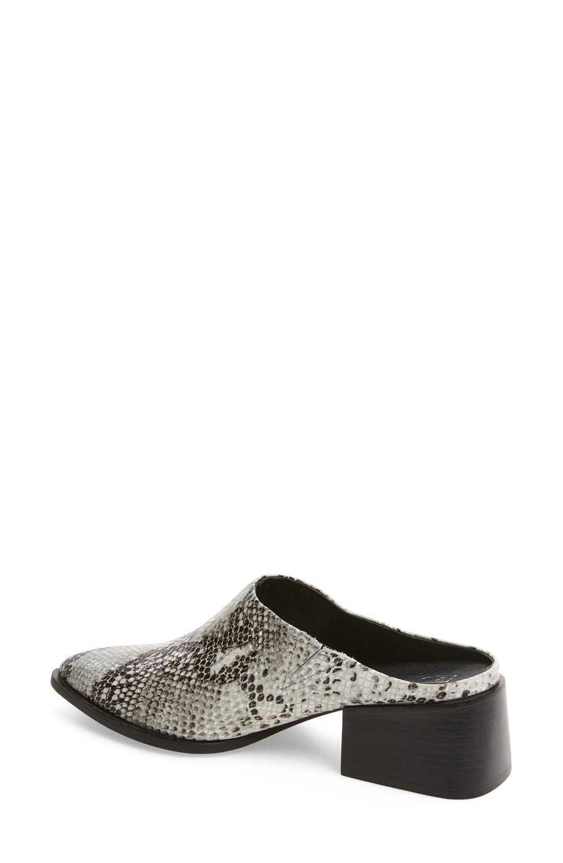 Camille Pointy Toe Mule,                             Alternate thumbnail 2, color,                             Natural Snake Print Leather