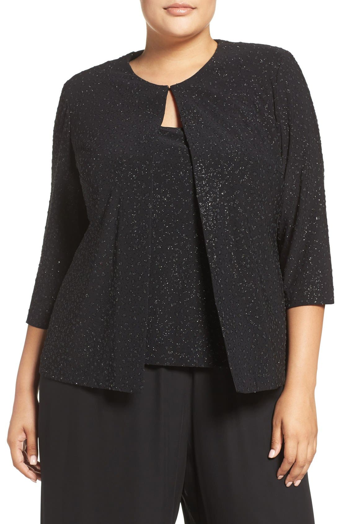 Beaded Twinset,                         Main,                         color, Black