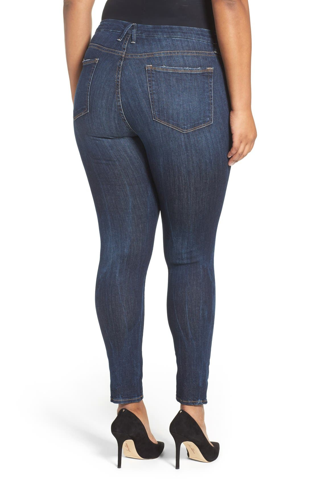 Alternate Image 8  - Good American Good Legs High Rise Skinny Jeans (Blue 004) (Regular & Plus Size)