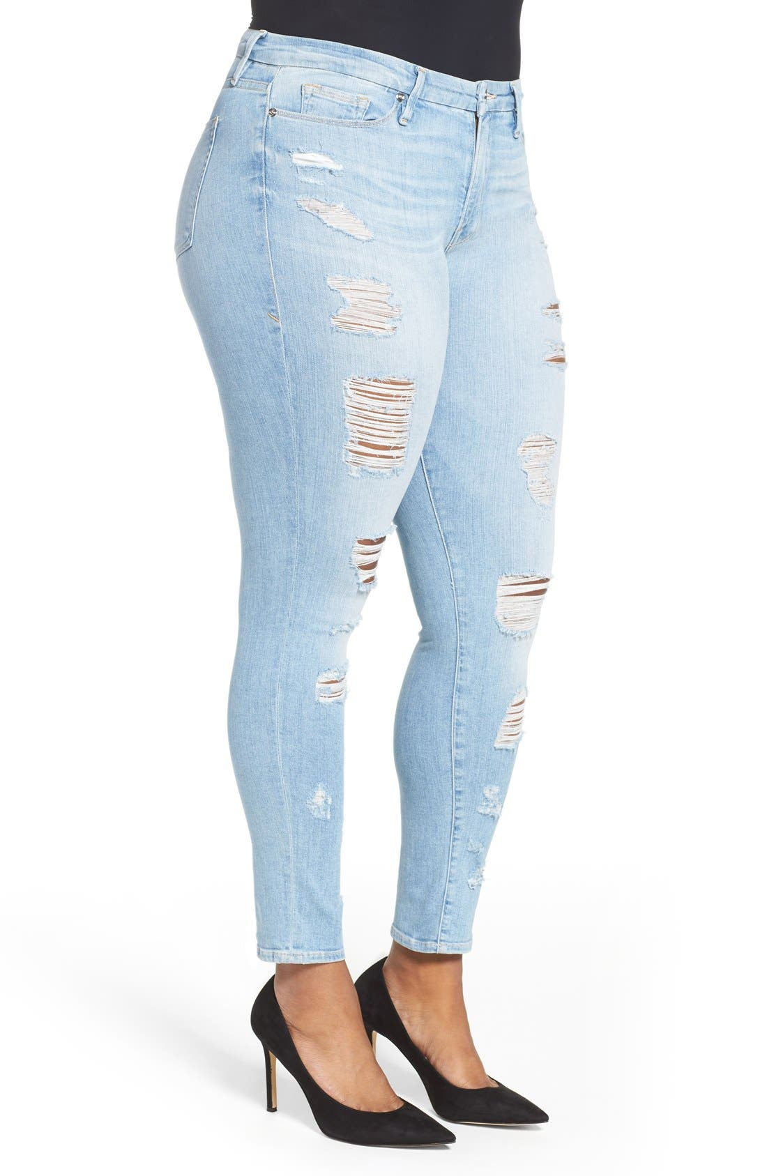 Alternate Image 6  - Good American Good Legs High Rise Ripped Skinny Jeans (Blue 008)
