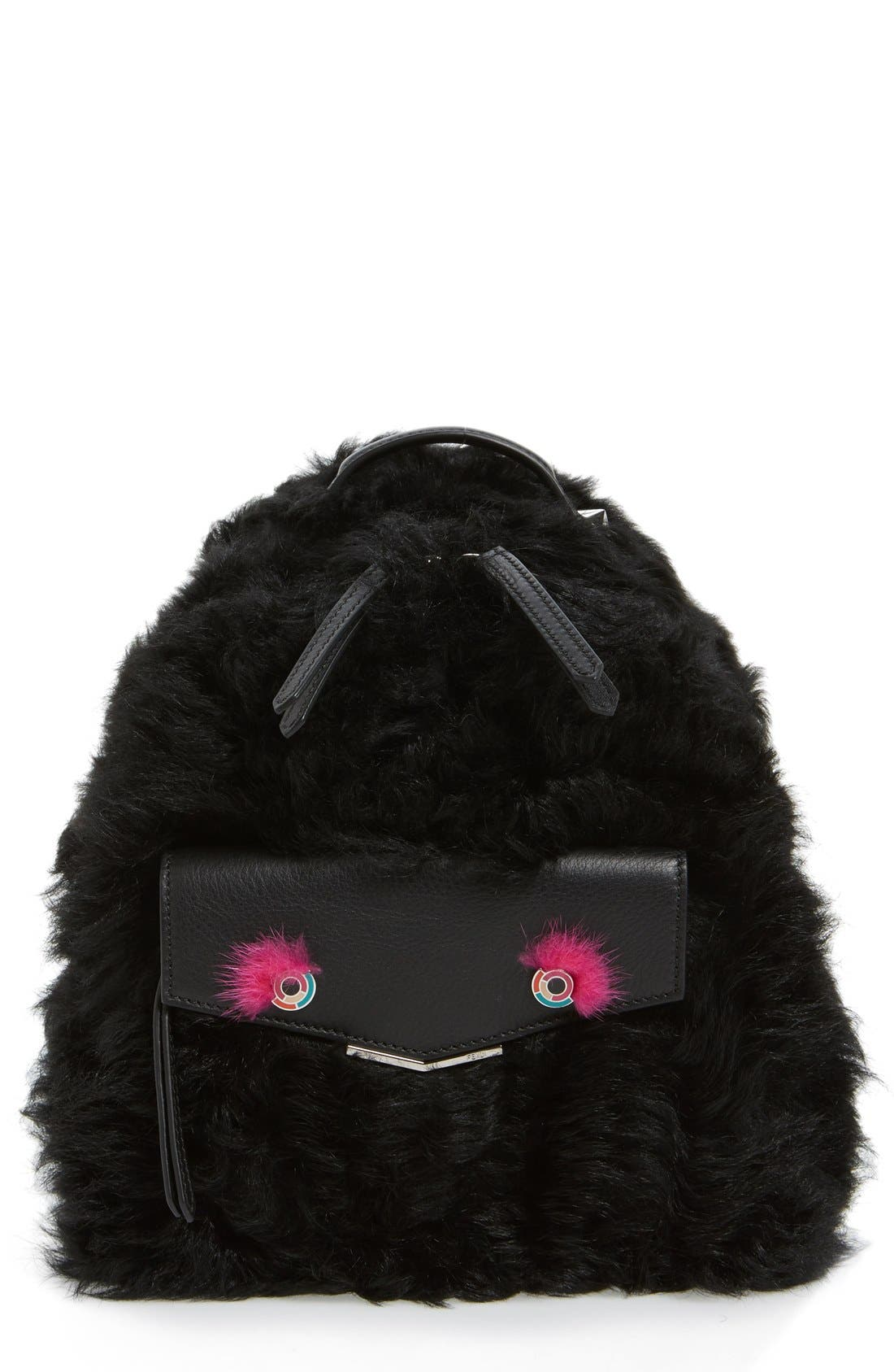 'Mini Monster' Genuine Shearling & Genuine Mink Fur Backpack,                             Main thumbnail 1, color,                             Black/ Fuchsia / Palladium