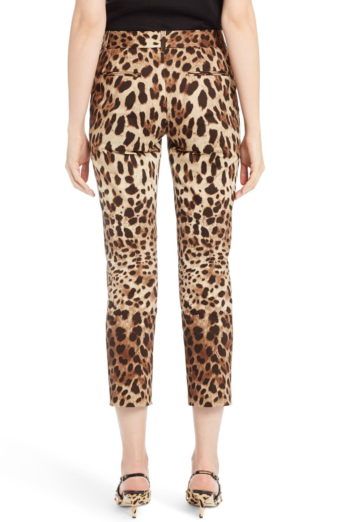 Leopard Print Ankle Pants,                             Alternate thumbnail 2, color,                             Leopard