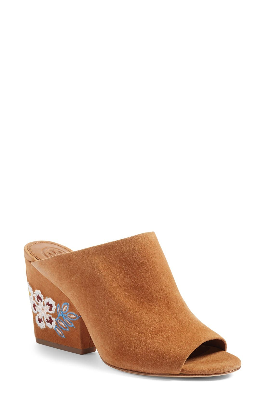 Alternate Image 1 Selected - Tory Burch Embroidered Floral Mule (Women)