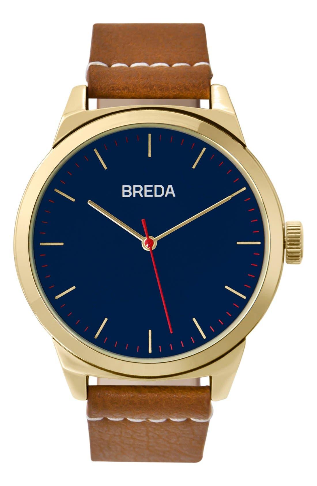 BREDA Rand Round Leather Strap Watch, 43mm
