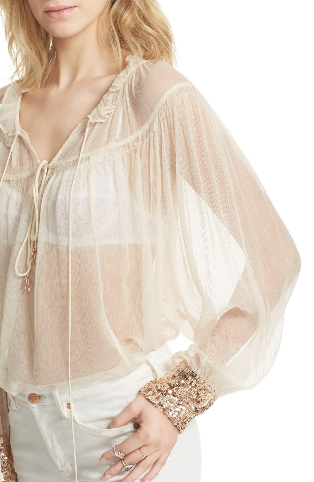 Dream Cuff Blouse,                             Alternate thumbnail 4, color,                             Ivory