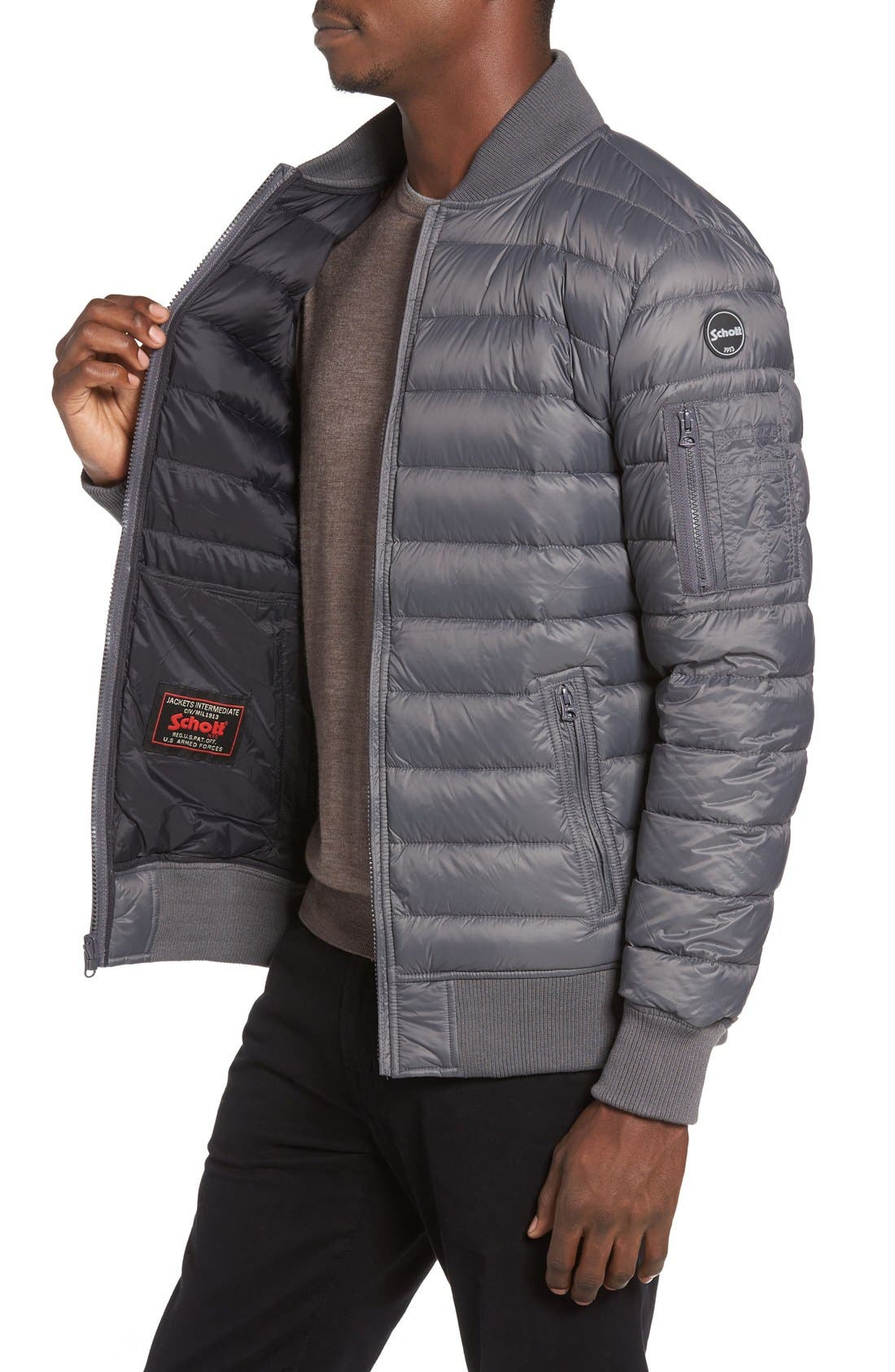 Reversible Down Bomber Jacket,                             Alternate thumbnail 3, color,                             Charcoal