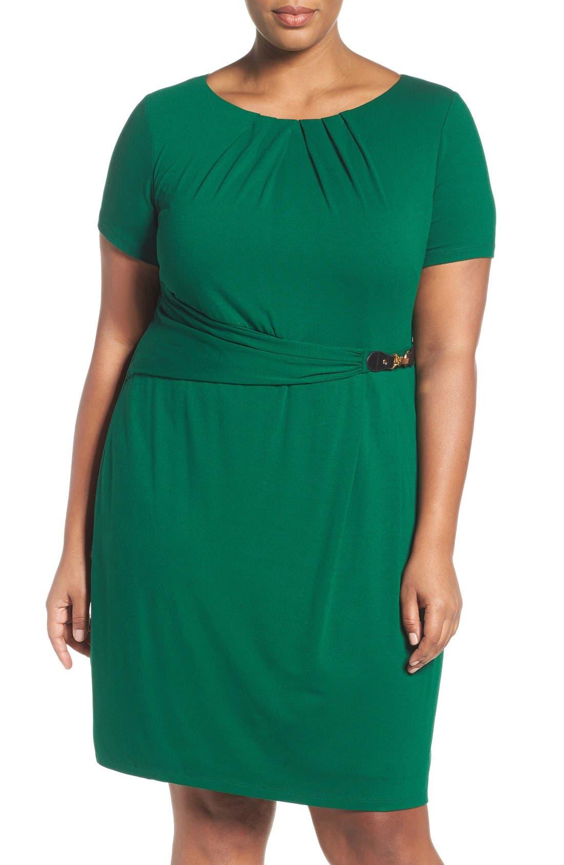 Ellen Tracy Buckle Sheath Dress (Plus Size)