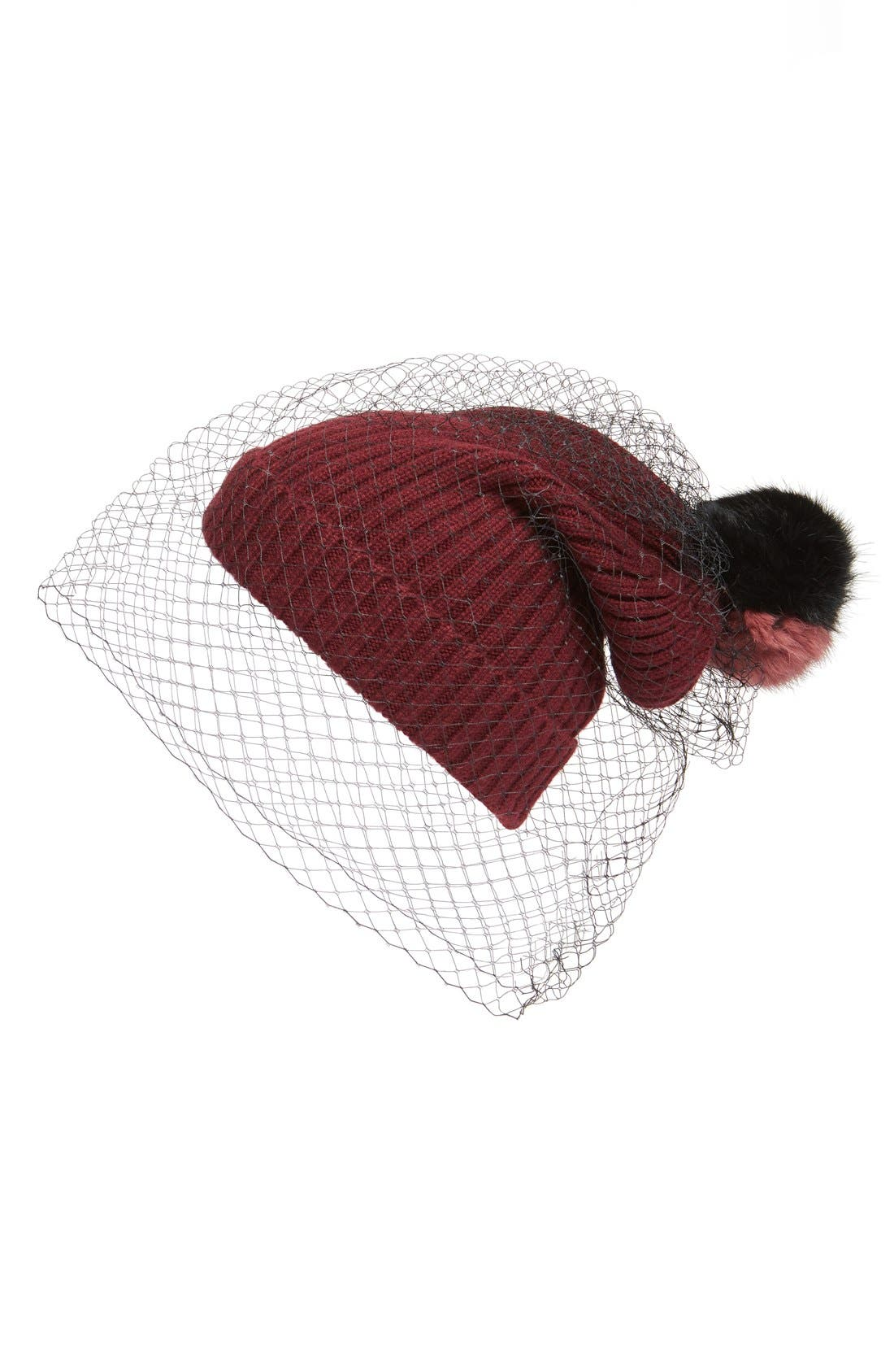 Alternate Image 1 Selected - BCBGMAXAZRIA Veiled Pom Beanie