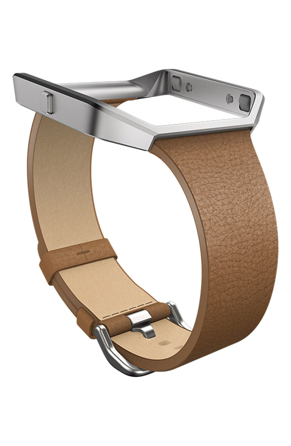 'Blaze' Slim Leather Accessory Band & Frame,                             Main thumbnail 1, color,                             Camel