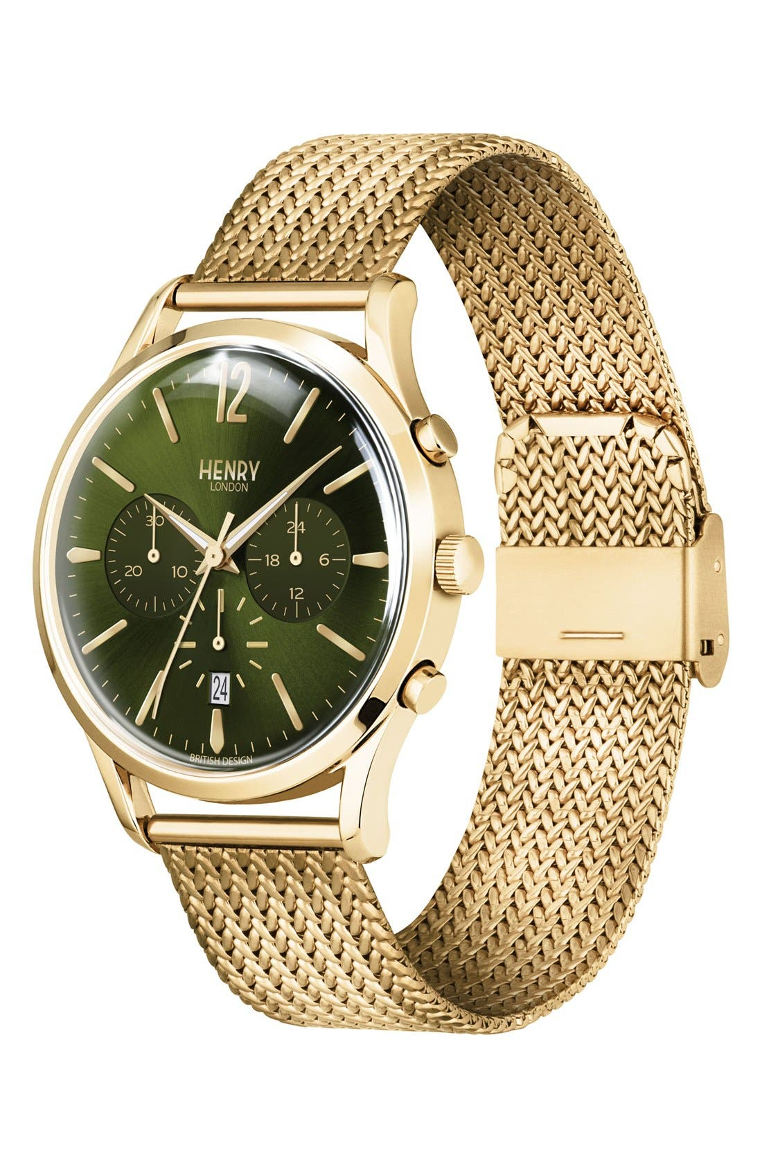 Chiswick Chronograph Mesh Strap Watch, 41mm,                             Alternate thumbnail 2, color,                             Gold/ Green