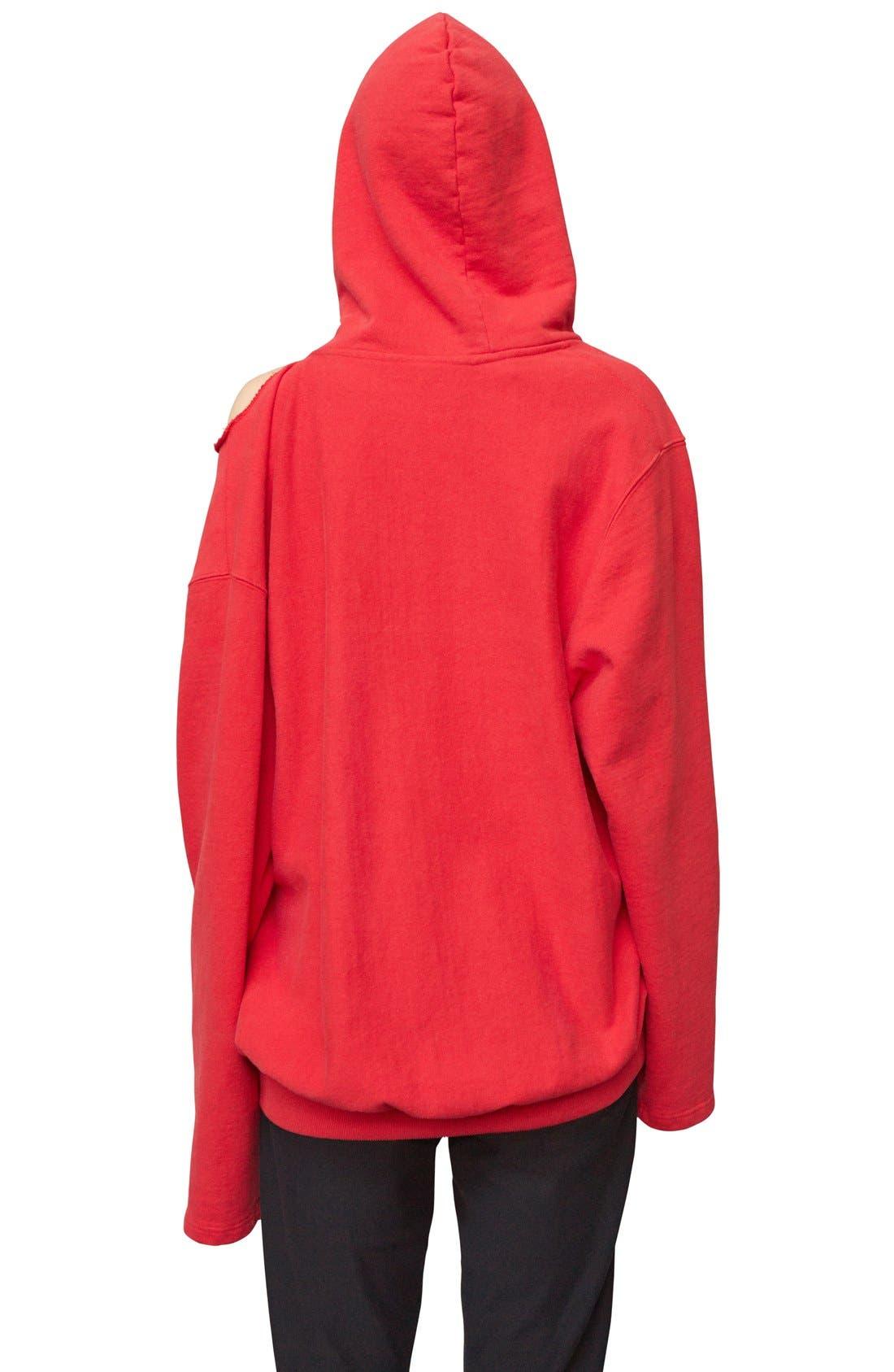 Alternate Image 2  - Vetements x Champion Cold Shoulder Hoodie