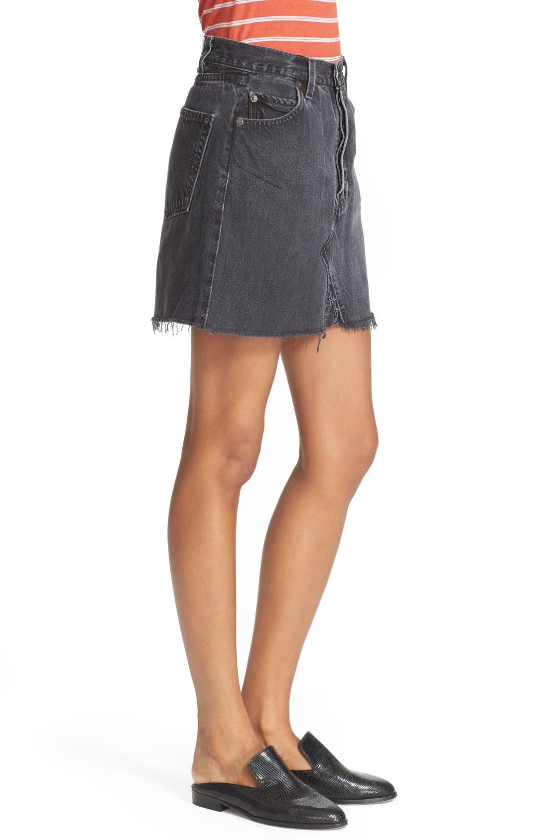 High Waist Repurposed Denim Miniskirt,                             Alternate thumbnail 3, color,                             Black
