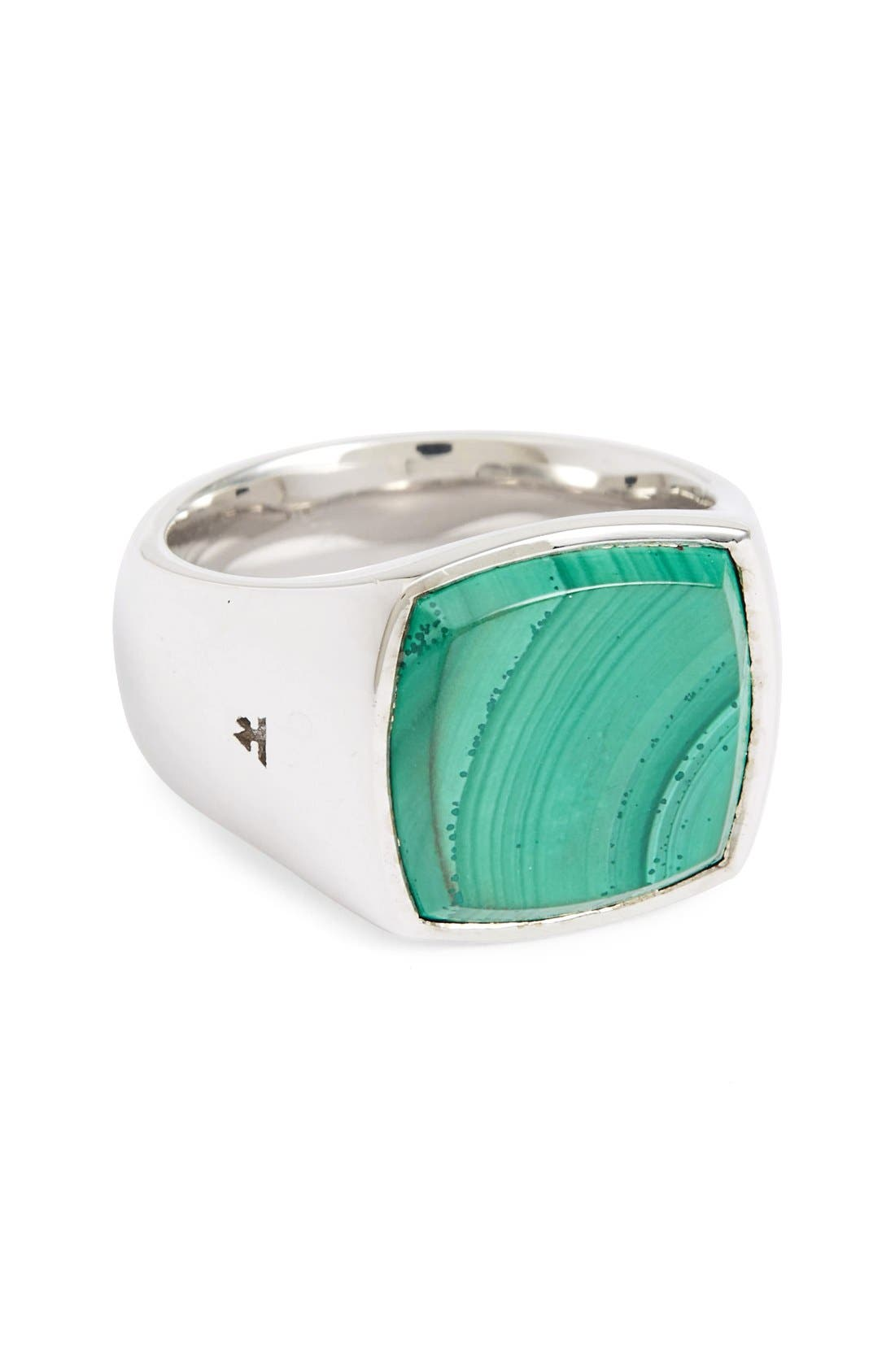 TOM WOOD Malachite Cushion Signet Ring