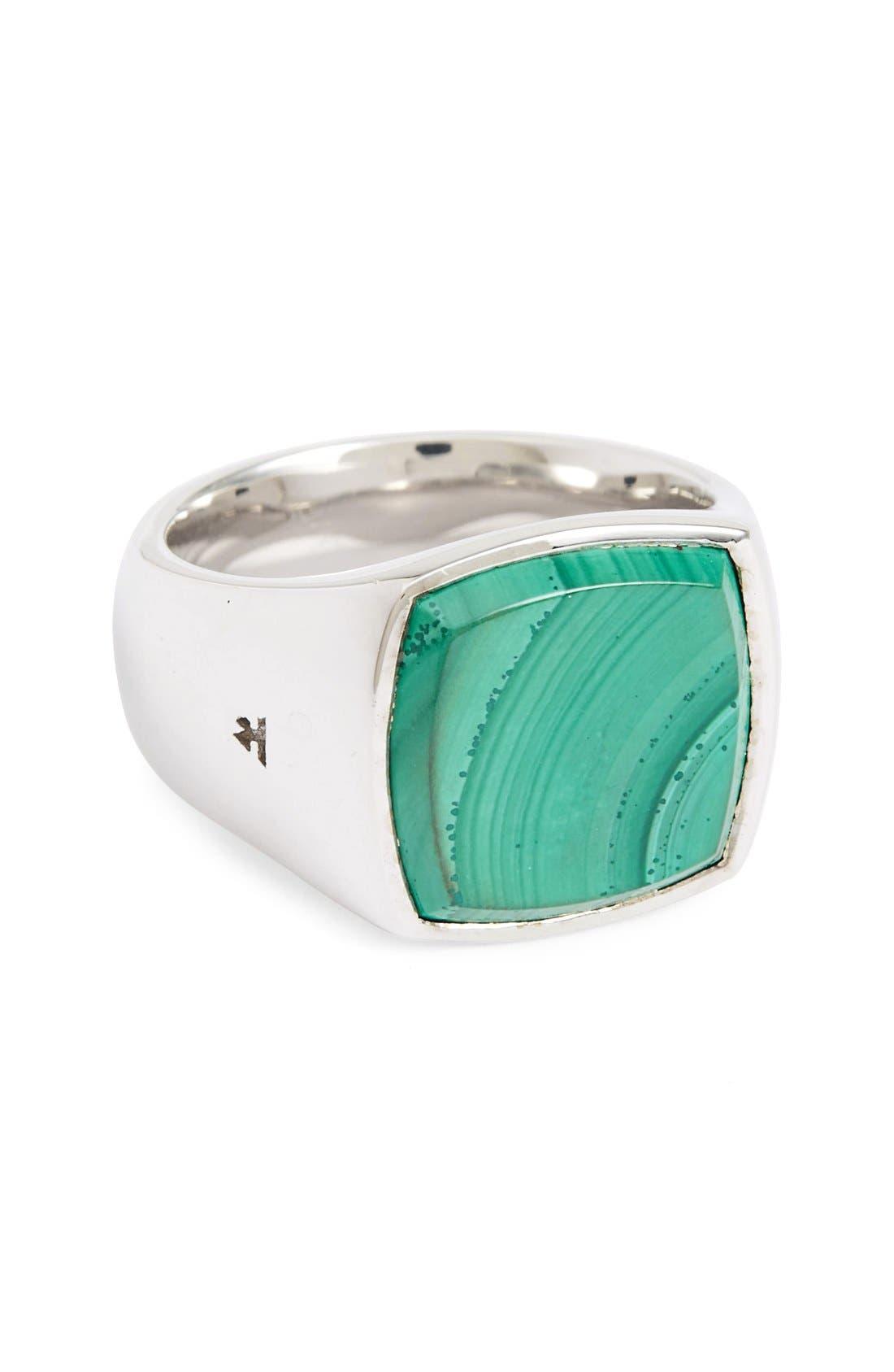 Malachite Cushion Signet Ring,                         Main,                         color, Silver