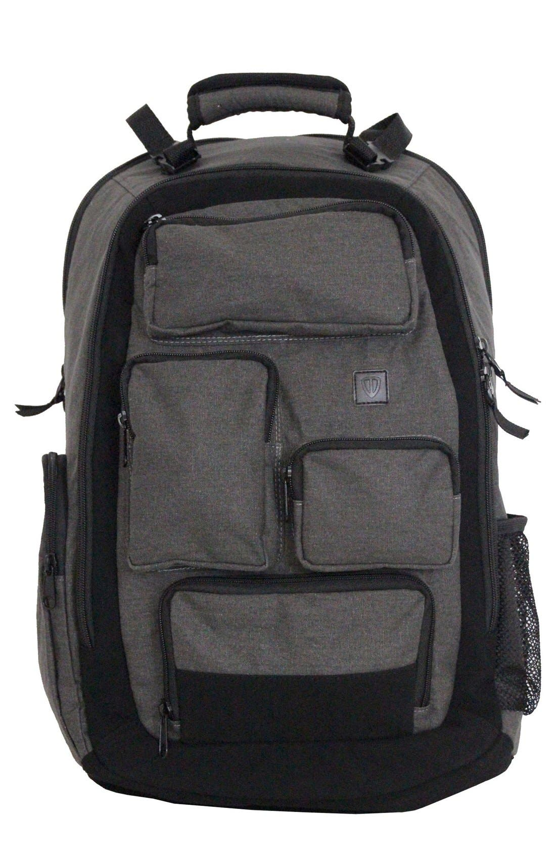 Canvas Diaper Backpack,                         Main,                         color, Grey