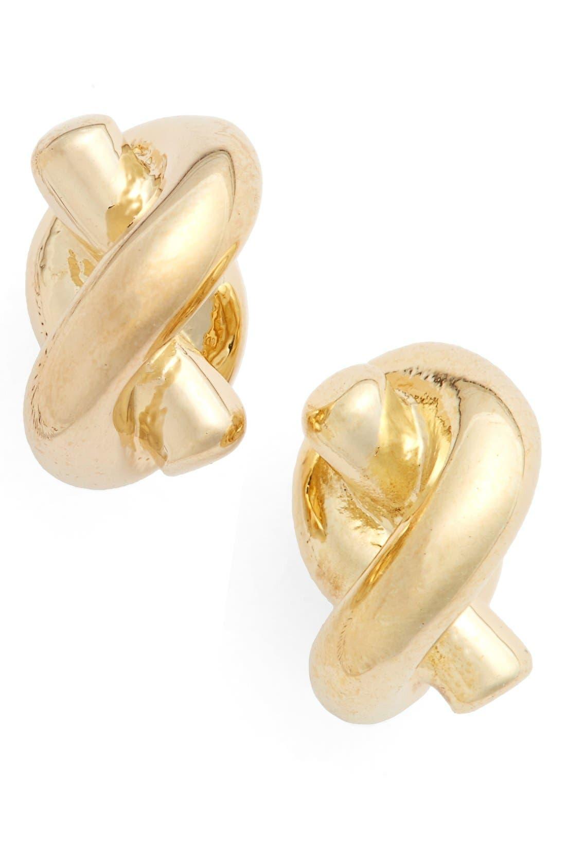 'sailors knot' mini stud earrings,                         Main,                         color, Gold