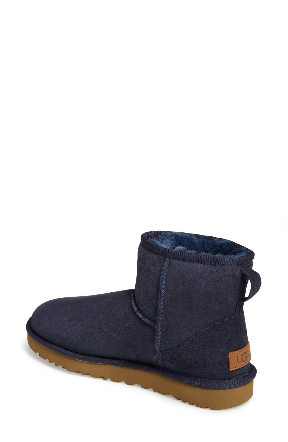 'Classic Mini II' Genuine Shearling Lined Boot,                             Alternate thumbnail 2, color,                             Navy Suede