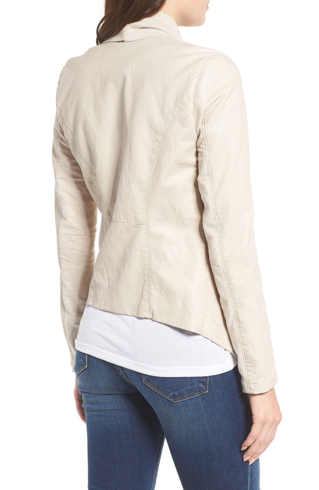 Alternate Image 3  - BLANKNYC Mixed Media Faux Leather Drape Front Jacket