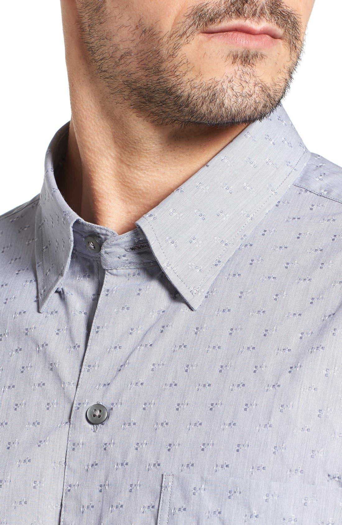 Starboard Jacquard Sport Shirt,                             Alternate thumbnail 2, color,                             Grey/ Multi