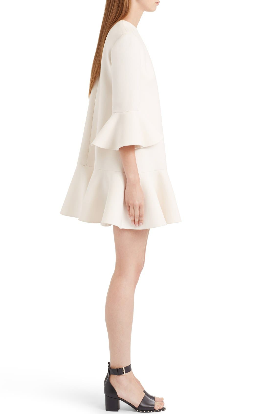 Bell Sleeve Crepe Couture Dress,                             Alternate thumbnail 4, color,                             Ivory