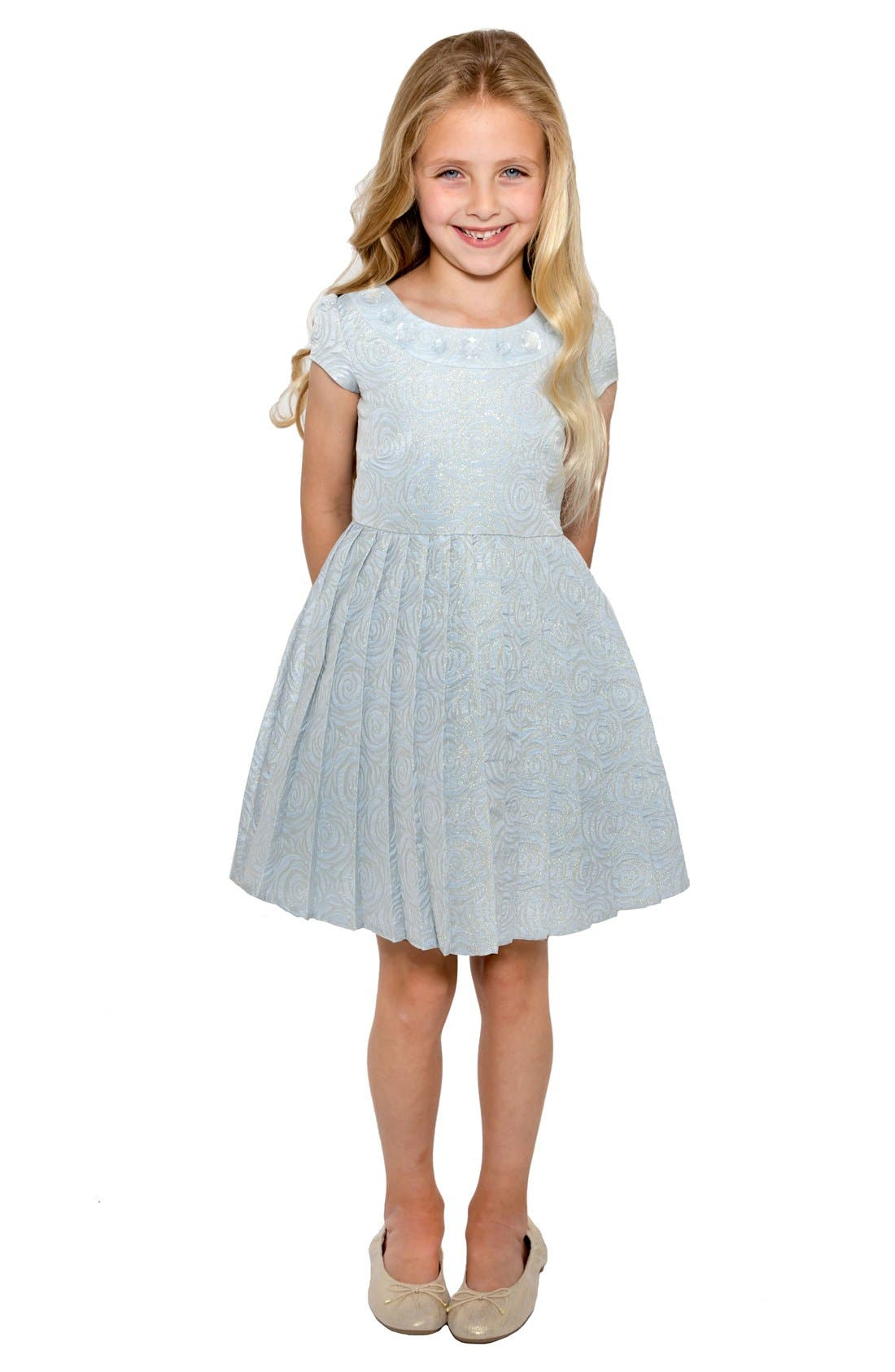 Little Angels Floral Brocade Dress (Toddler Girls & Little Girls)