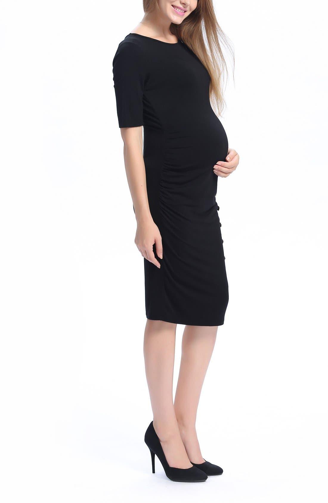 Daphne Colorblock Maternity Dress,                             Alternate thumbnail 5, color,                             Black/ White