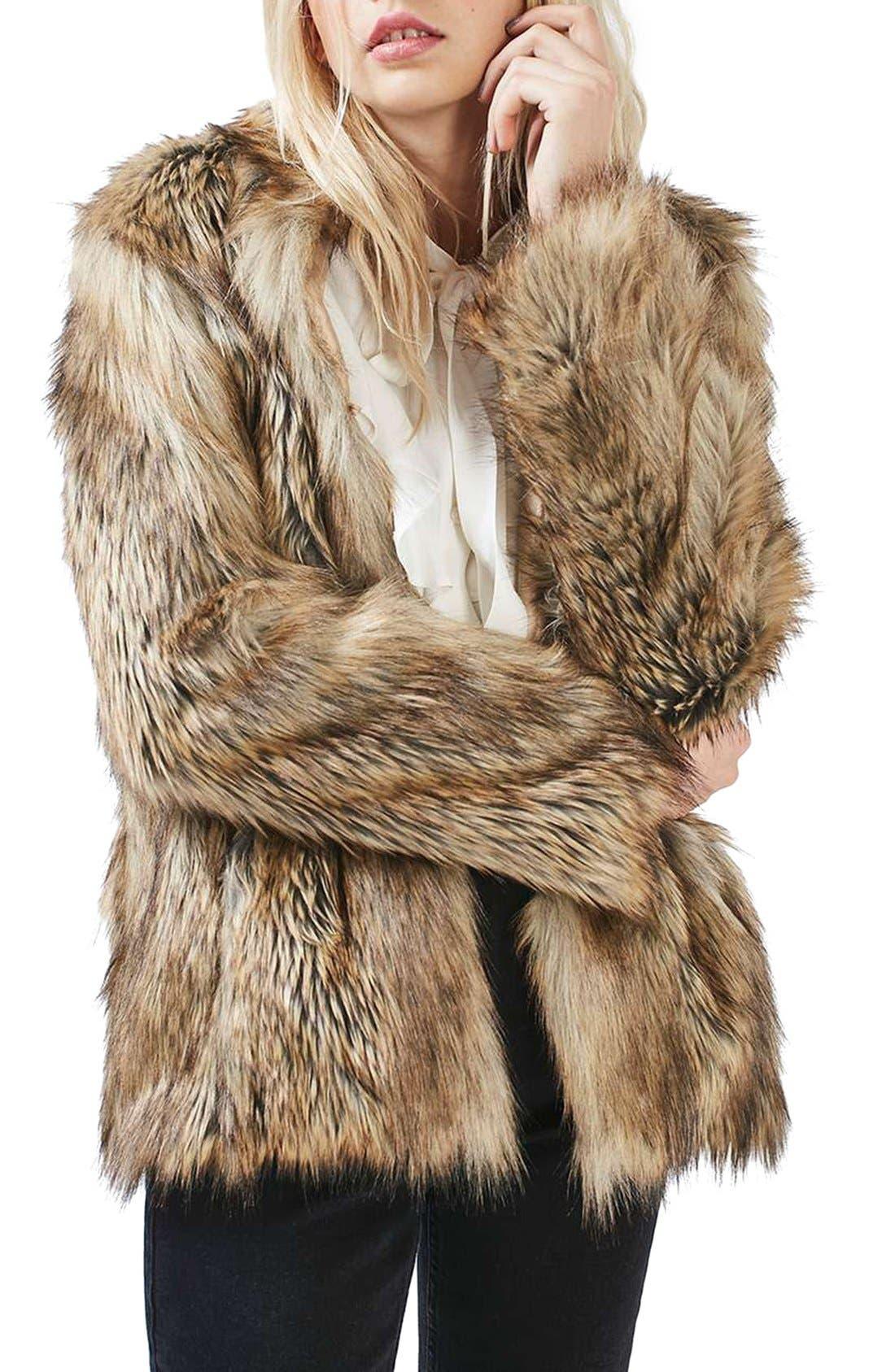 Kate Faux Fur Coat,                             Main thumbnail 1, color,                             Brown