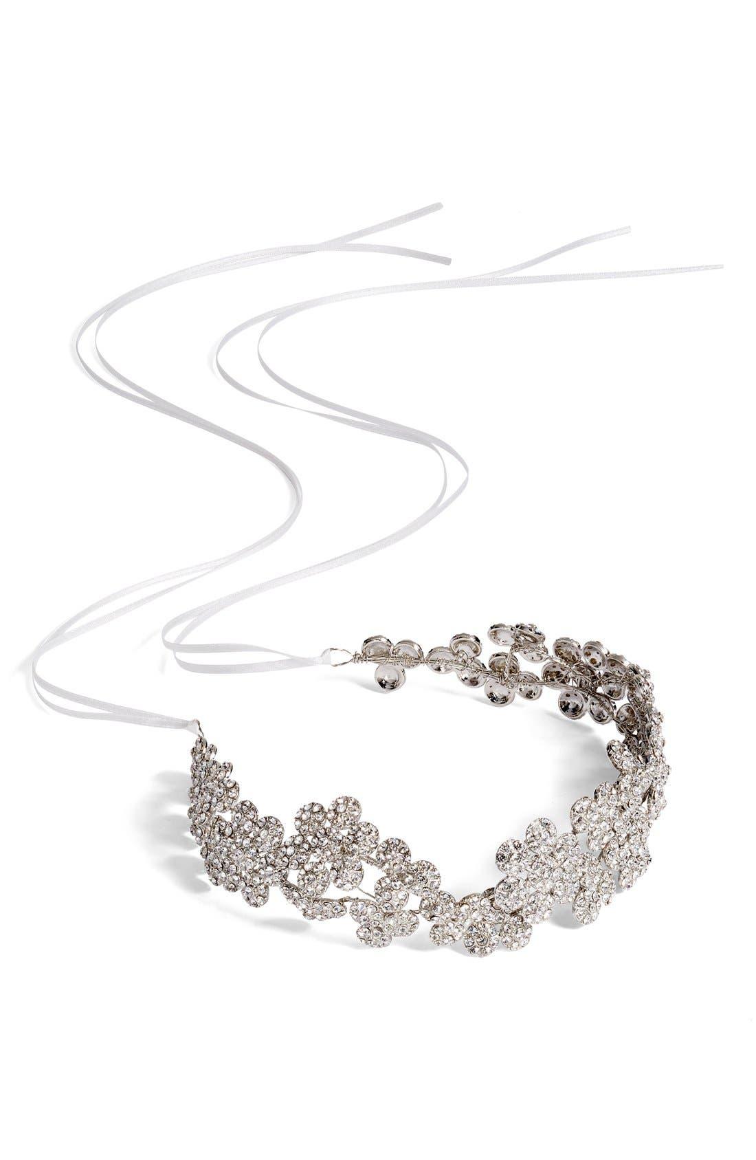 Alternate Image 2  - Brides & Hairpins Fiora Crystal Halo & Sash