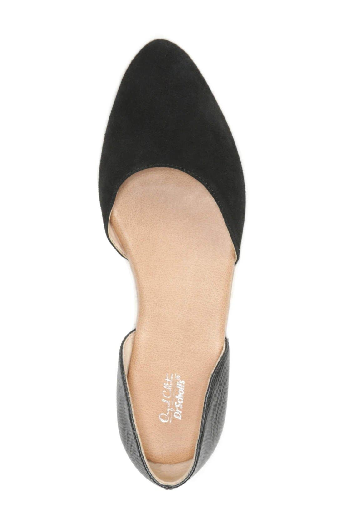 Vienna II d'Orsay Flat,                             Alternate thumbnail 3, color,                             Black Suede/ Leather