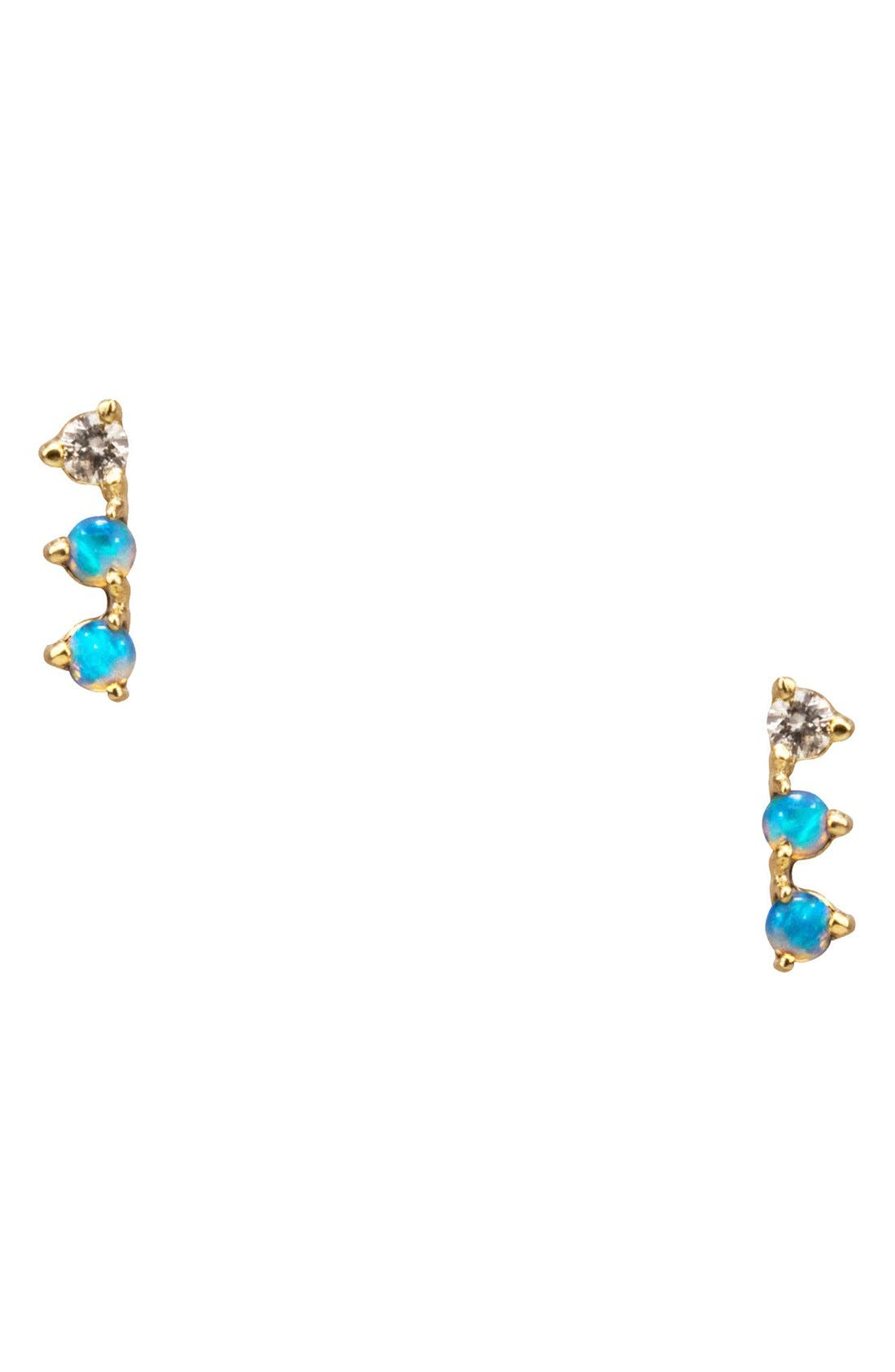 Counting Collection Three-Step Opal & Diamond Statement Earrings,                             Main thumbnail 1, color,                             Yellow Gold