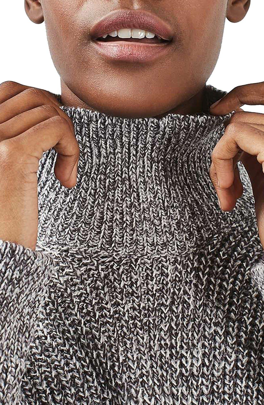 Alternate Image 6  - Topshop Grunge Funnel Neck Sweater Dress