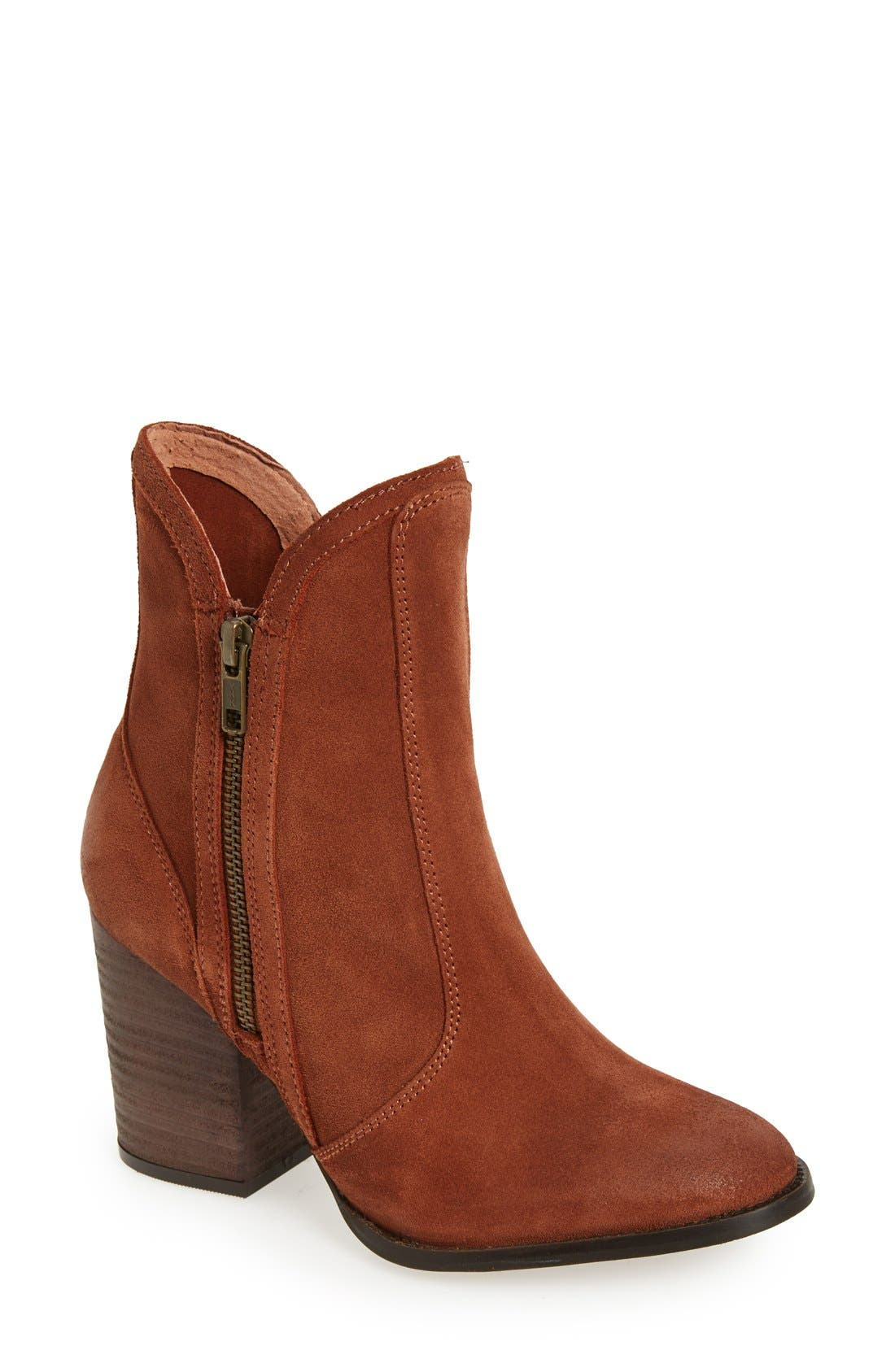 Lori Block Heel Western Bootie,                         Main,                         color, Cognac Suede