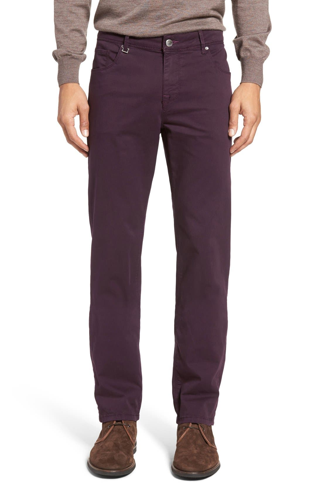 Slim Fit Five-Pocket Pants,                         Main,                         color, Plum