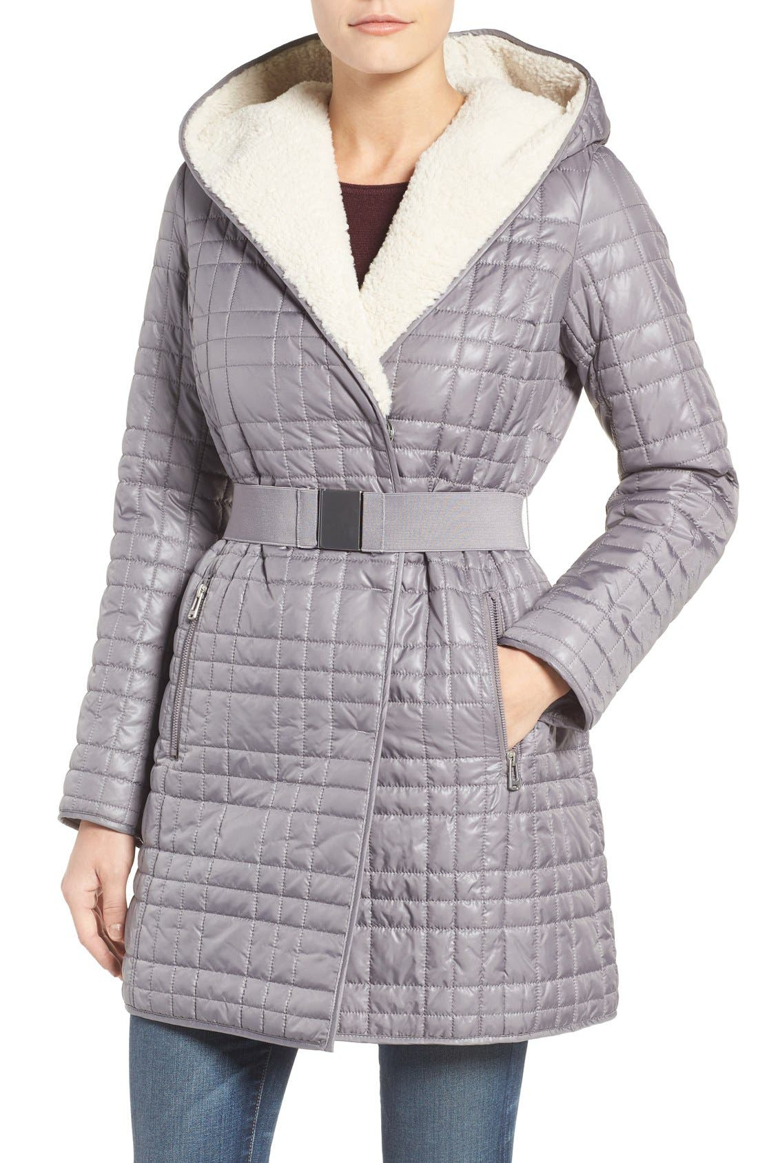 Main Image - Kenneth Cole New York Faux Shearling Lined Puffer Coat