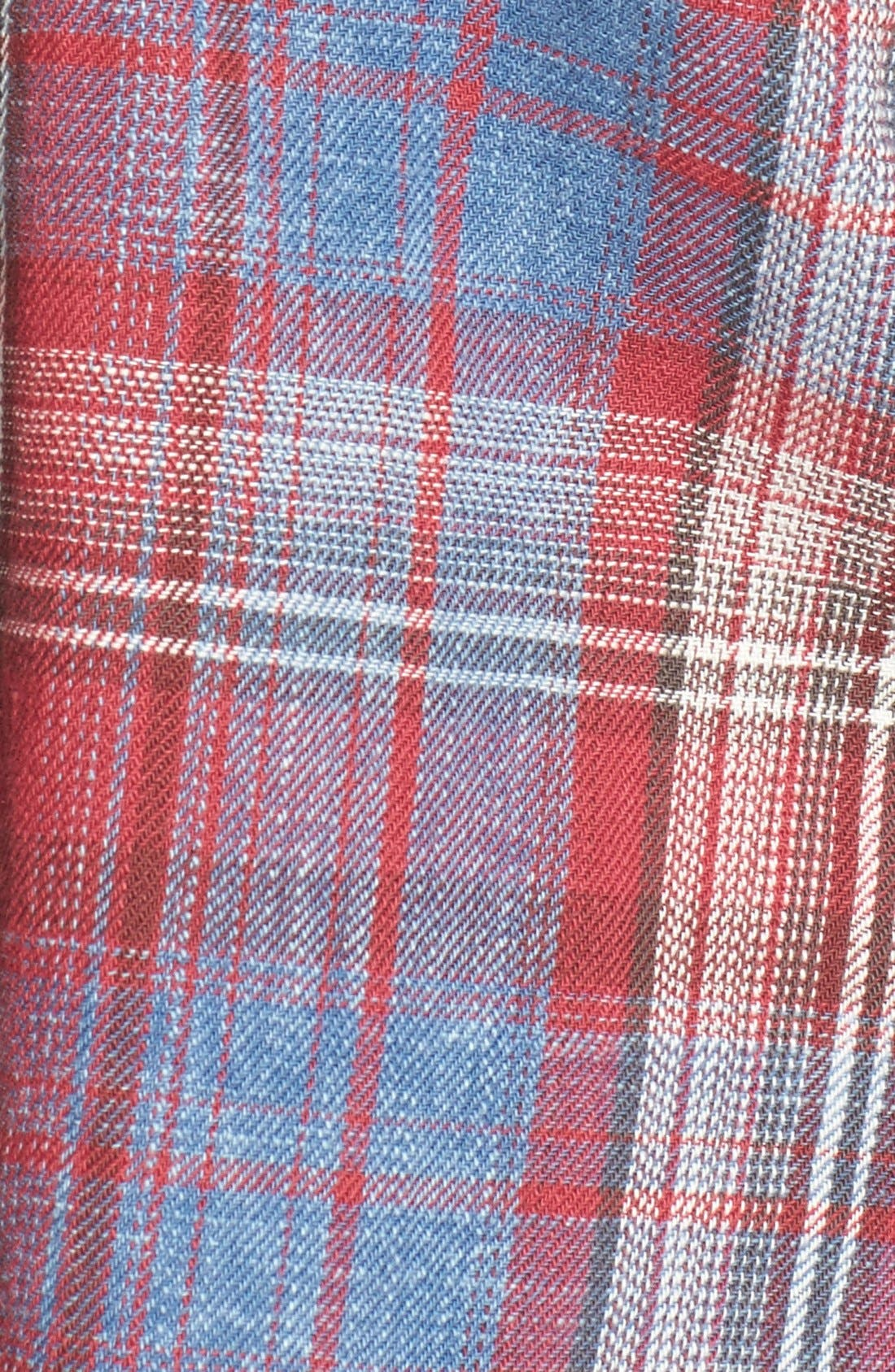 Frayed Plaid Shirt,                             Alternate thumbnail 5, color,                             Red/ Blue