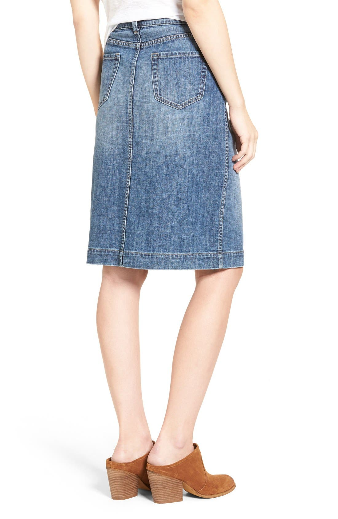 Button Front Denim Midi Skirt,                             Alternate thumbnail 2, color,                             Bluejay Medium Vintage