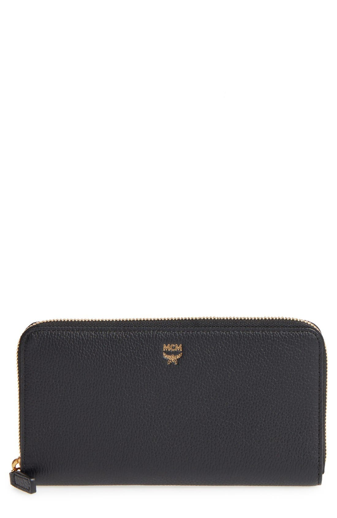 Milla Leather Zip Around Wallet,                         Main,                         color, Black