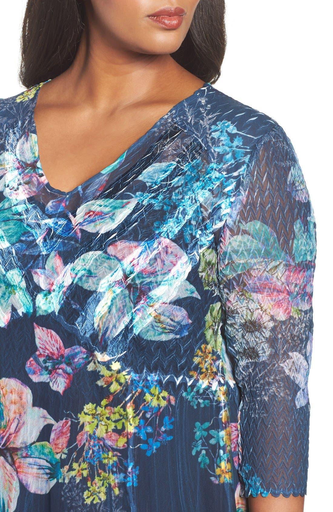 Chiffon A-Line Dress,                             Alternate thumbnail 3, color,                             Floral Gem