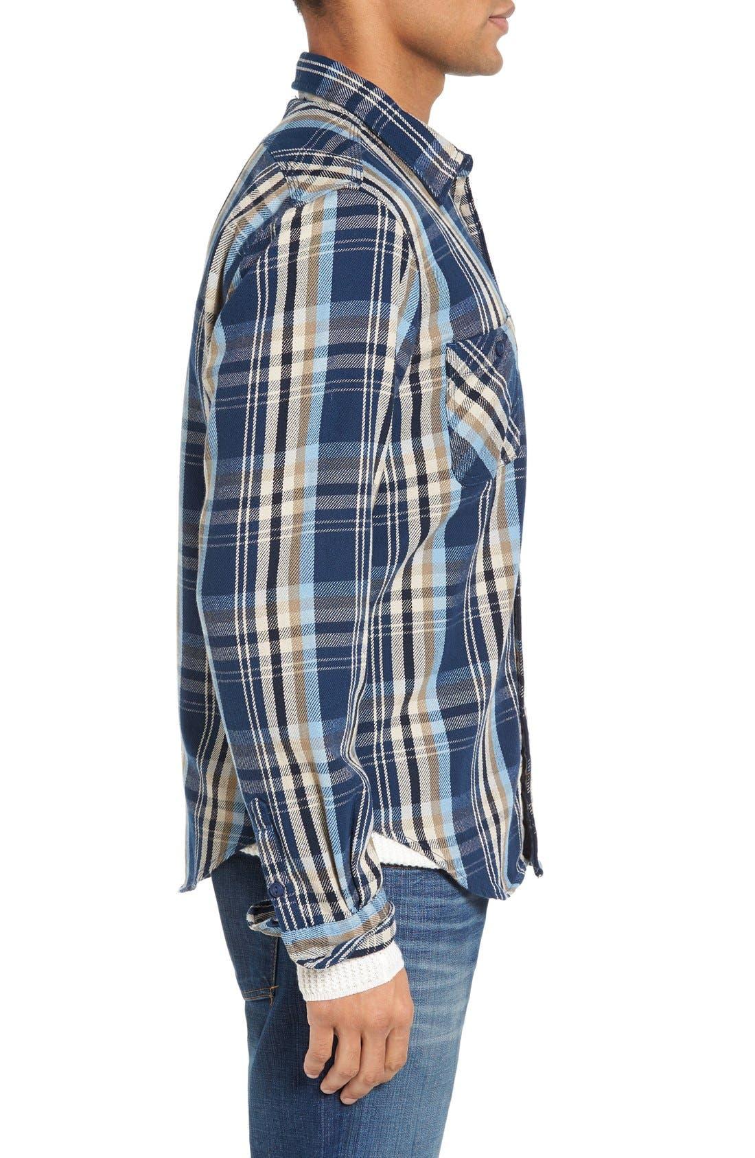 Classic Fit Plaid Flannel Shirt,                             Alternate thumbnail 3, color,                             Blue